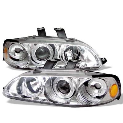Spyder - Honda Civic 4DR Spyder Projector Headlights - LED Halo - Amber Reflector - Chrome - 1PC - 444-HC921P-4D-AM-C