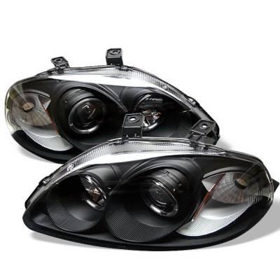 Spyder - Honda Civic Spyder Projector Headlights - LED Halo - Amber Reflector - Black - 444-HC96-AM-BK
