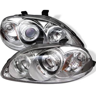 Spyder - Honda Civic Spyder Projector Headlights - LED Halo - Amber Reflector - Chrome - 444-HC96-AM-C