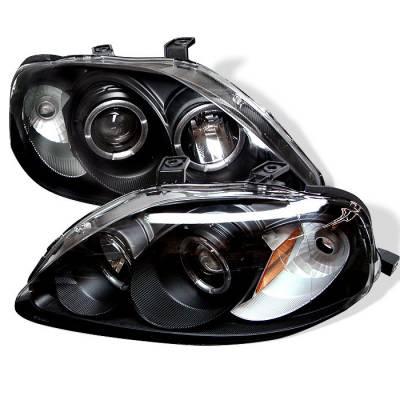 Spyder - Honda Civic Spyder Projector Headlights - LED Halo - Black - 444-HC99-AM-BK