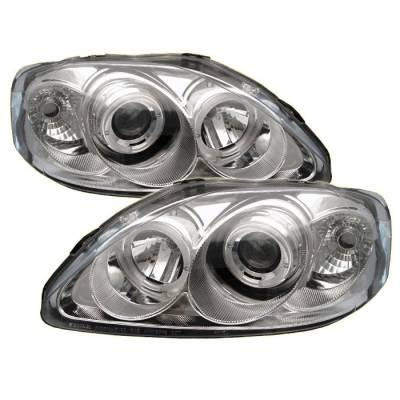 Spyder - Honda Civic Spyder Projector Headlights - LED Halo - Chrome - 444-HC99-AM-C