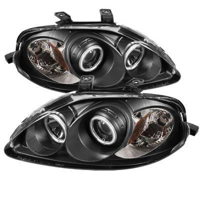 Spyder - Honda Civic Spyder Projector Headlights - CCFL Halo - Black - 444-HC99-CCFL-BK