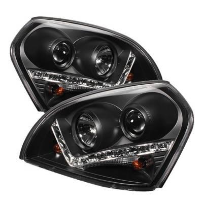 Spyder - Hyundai Tucson Spyder Projector Headlights - DRL - Black - 444-HYTUC04-DRL-BK