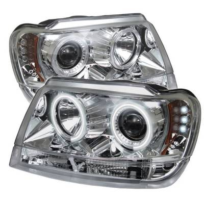 Spyder - Jeep Grand Cherokee Spyder Projector Headlights - CCFL Halo - LED - Chrome - 444-JGC99-CCFL-C