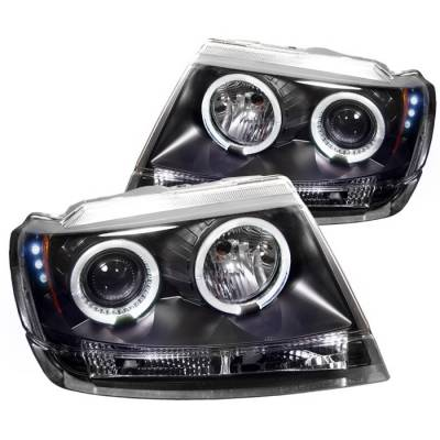 Spyder - Jeep Grand Cherokee Spyder Projector Headlights - LED Halo - LED - Black - 444-JGC99-HL-BK