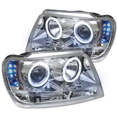 Spyder - Jeep Grand Cherokee Spyder Projector Headlights - LED Halo - LED - Chrome - 444-JGC99-HL-C