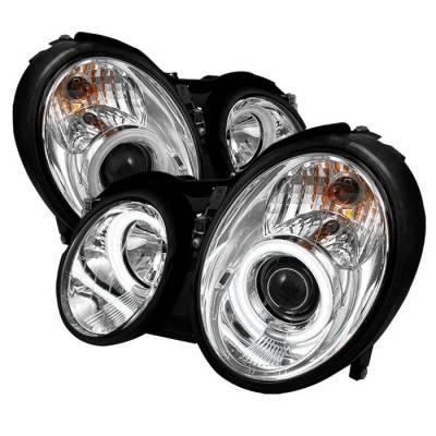 Spyder - Mercedes-Benz CLK Spyder Projector Headlights CCFL Halo - Chrome - 444-MBCLK98-CCFL-C