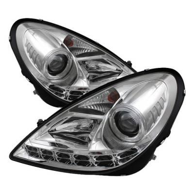 Spyder - Mercedes-Benz SLK Spyder Projector Headlights DRL - Chrome - 444-MBSLK05-DRL-C