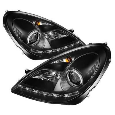 Spyder - Mercedes-Benz SLK Spyder Projector Headlights - Xenon HID Model Only - DRL - Black - 444-MBSLK05-HID-DRL-BK
