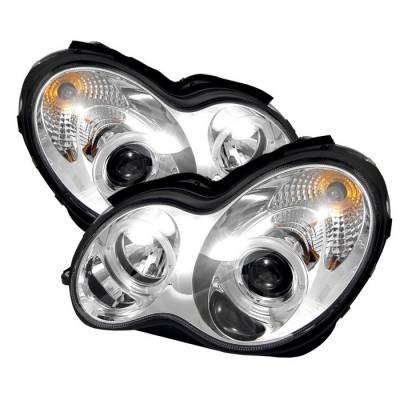 Spyder - Mercedes-Benz C Class Spyder Projector Headlights - LED Halo - Chrome - 444-MBW203-HL-C