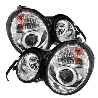 Spyder - Mercedes-Benz E Class Spyder Projector Headlights - LED Halo - Chrome - 444-MBW21095-HL-C