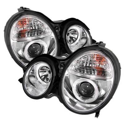Spyder - Mercedes-Benz E Class Spyder Projector Headlights - LED Halo - Chrome - 444-MBW21099-HL-C