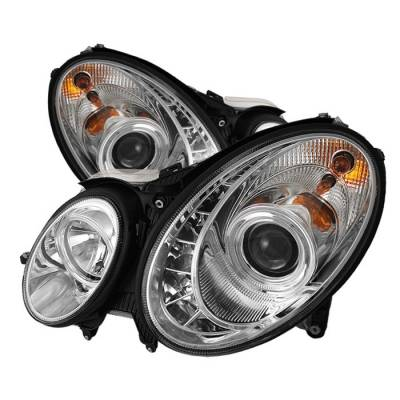 Spyder - Mercedes-Benz E Class Spyder Projector Headlights DRL - Chrome - 444-MBW21103-DRL-C