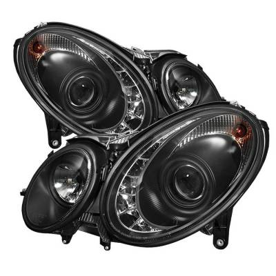 Spyder - Mercedes-Benz E Class Spyder Projector Headlights - Xenon HID Model Only - DRL - Black - 444-MBW21103-HID-DRL-BK