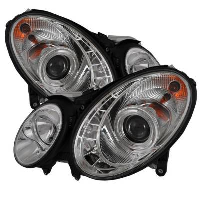 Spyder - Mercedes-Benz E Class Spyder Projector Headlights - Xenon HID Model Only - DRL - Chrome - 444-MBW21103-HID-DRL-C