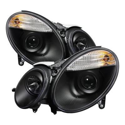 Spyder - Mercedes-Benz E Class Spyder Projector Headlights Black - 444-MBW21107-BK
