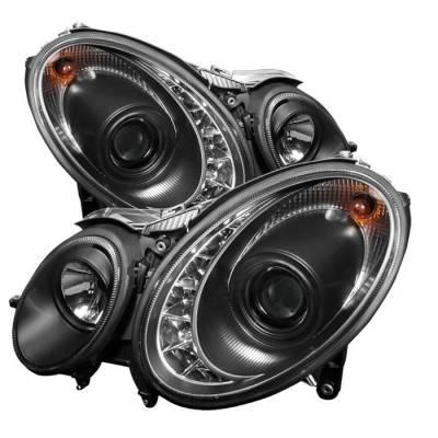 Spyder - Mercedes-Benz E Class Spyder Projector Headlights DRL - Black - 444-MBW21107-DRL-BK