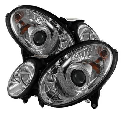 Spyder - Mercedes-Benz E Class Spyder Projector Headlights DRL - Chrome - 444-MBW21107-DRL-C