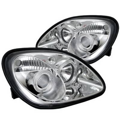 Spyder Auto - Mercedes-Benz SLK Spyder Halo Projector Headlights - Chrome - 444-MBW220-DRL-BK