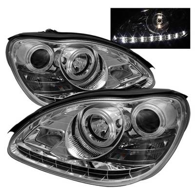 Spyder - Mercedes-Benz S Class Spyder Projector Headlights DRL - Chrome - 444-MBW220-DRL-C
