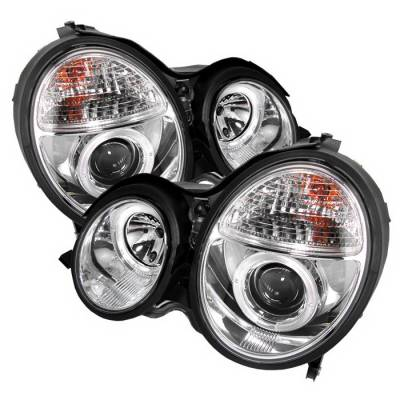 Spyder Auto - Mercedes-Benz E Class Spyder Halo Projector Headlights - Chrome - 444-ME00-HL-C