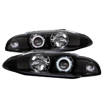 Spyder - Mitsubishi Eclipse Spyder Projector Headlights - CCFL Halo - Black - 444-ME97-CCFL-BK