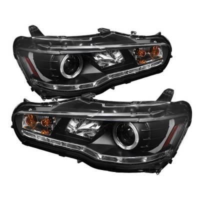 Spyder - Mitsubishi Lancer Spyder Projector Headlights LED Halo - DRL - Black - 444-ML08-DRL-BK