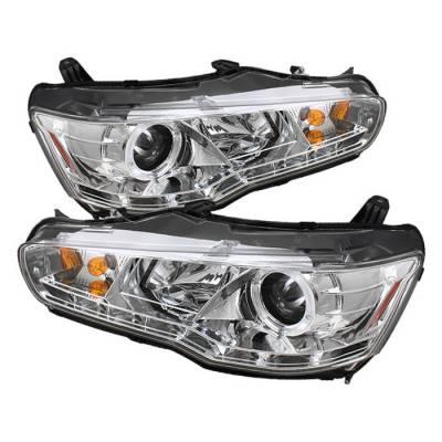 Spyder - Mitsubishi Lancer Spyder Projector Headlights LED Halo - DRL - Chrome - 444-ML08-DRL-C