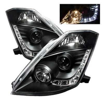 Spyder - Nissan 350Z Spyder Projector Headlights DRL - Black - 444-N350Z02-DRL-BK
