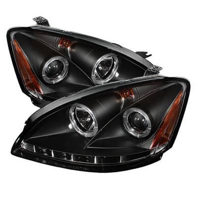 Spyder - Nissan Altima Spyder Projector Headlights LED Halo - LED - Black - 444-NA02-HL-BK