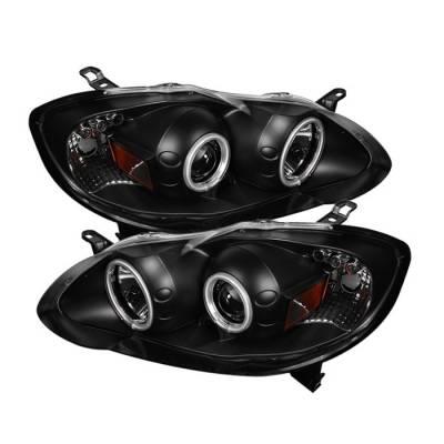 Spyder - Toyota Corolla Spyder Projector Headlights - CCFL Halo - LED - Black - 444-TC03-CCFL-BK