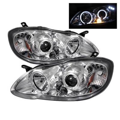 Spyder - Toyota Corolla Spyder Projector Headlights - LED Halo - LED - Chrome - 444-TC03-HL-C