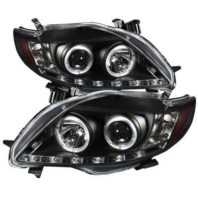 Spyder - Toyota Corolla Spyder Projector Headlights - LED Halo - DRL LED - Black - 444-TC09-DRL-BK