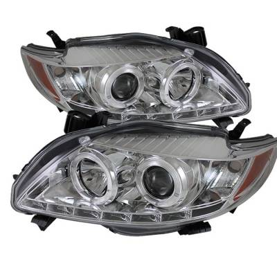 Spyder - Toyota Corolla Spyder Projector Headlights - LED Halo - DRL LED - Chrome - 444-TC09-DRL-C