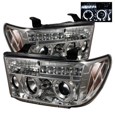 Spyder - Toyota Tundra Spyder Projector Headlights - LED Halo - LED - Chrome - 444-TTU07-HL-C