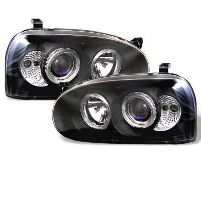 Spyder - Volkswagen Golf Spyder Projector Headlights - LED Halo - Black - 444-VG92-BK