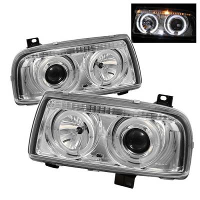Spyder - Volkswagen Jetta Spyder Projector Headlights - LED Halo - Chrome - 444-VJ93-HL-C