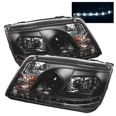 Spyder - Volkswagen Jetta Spyder Projector Headlights - DRL LED - Black - 444-VJ99-DRL-BK