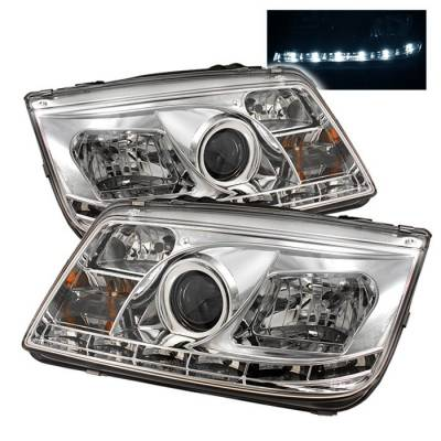 Spyder - Volkswagen Jetta Spyder Projector Headlights - DRL LED - Chrome - 444-VJ99-DRL-C
