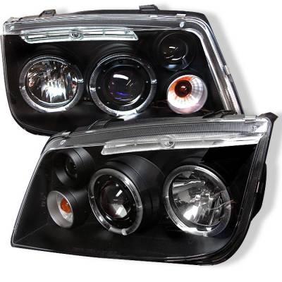 Spyder - Volkswagen Jetta Spyder Projector Headlights - LED Halo - Black - 444-VJ99-HL-BK