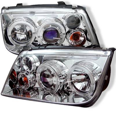 Spyder - Volkswagen Jetta Spyder Projector Headlights - LED Halo - Chrome - 444-VJ99-HL-C