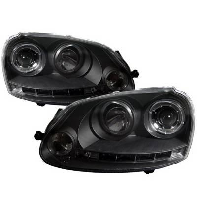 Spyder Auto - Volkswagen Jetta Spyder Halo LED Projector Headlights - Black - 444-VP01-DRL-BK