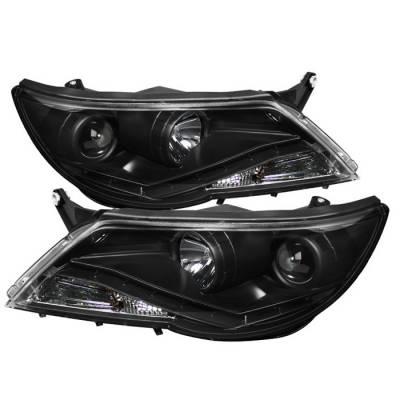 Spyder - Volkswagen Tiguan Spyder Projector Headlights - DRL LED - Black - 444-VTIG09-DRL-BK