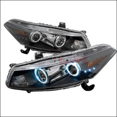 Spec-D - Honda Accord Spec-D CCFL Halo Projector Headlights - Black - 4LHP-ACD082JM-KS