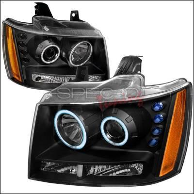 Spec-D - Chevrolet Avalanche Spec-D CCFL Halo Projector Headlights - Black - 4LHP-AVA07JM-KS