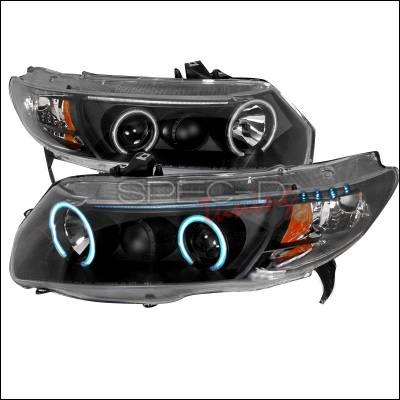 Spec-D - Honda Civic Spec-D CCFL Halo Projector Headlights - Black - 4LHP-CV062JM-KS