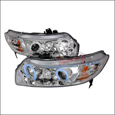 Spec-D - Honda Civic Spec-D CCFL Halo Projector Headlights - Chrome - 4LHP-CV062-KS