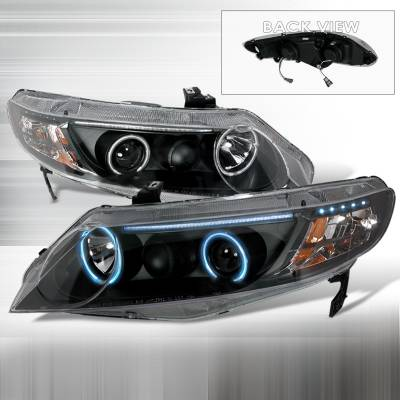 Spec-D - Honda Civic Spec-D CCFL Halo Projector Headlights - Black - 4LHP-CV064JM-KS