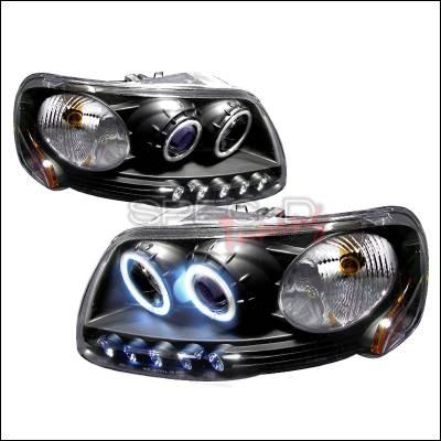 Spec-D - Ford F150 Spec-D CCFL Halo Projector Headlights - Chrome - 4LHP-F150971PCJMB-KS