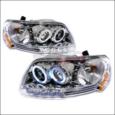Spec-D - Ford F150 Spec-D CCFL Halo Projector Headlights - Chrome - 4LHP-F150971PC-KS